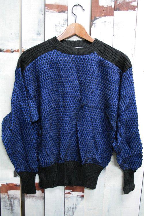 古着 アクリルニット ニット セーター ブルー ブラック 青 黒 デザイン古着 レディース ドット 個性的 総柄