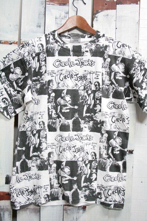 90年代 Circle Jerks サークルジャークス 総柄 ヴィンテージ バンドTシャツ 古着 ホワイト ブラック ハードコア
