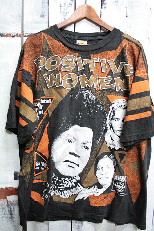90年代 ビンテージTシャツ POSITIVE WOMEN プリントTシャツ 偉人 総柄 ブラック 黒 WORLD KACY COLORS XL Tシャツ 古着