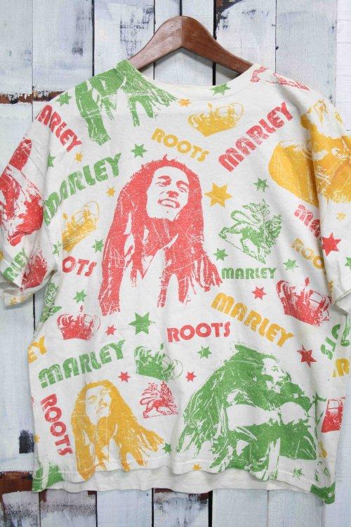 80年代 ヴィンテージTシャツ ボブマーリー Bob Marley オフホワイト 白 総柄 ビンテージ プリントTシャツ 古着