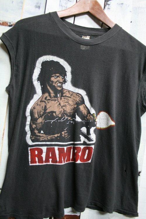 80年代 ランボー 怒りの脱出 ビンテージTシャツ Tシャツ プリントTシャツ ブラック 黒 ノースリーブ ブラック 黒 古着