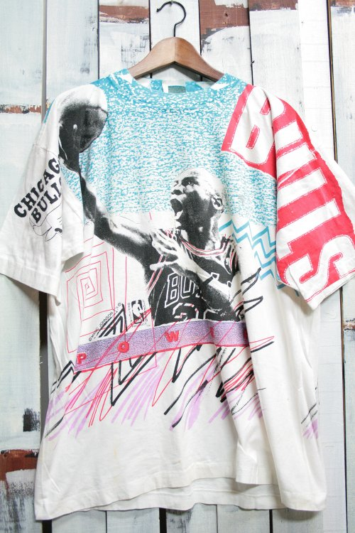 """90年代 マジック""""ジョンソン MagicJohnson ビンテージTシャツ Tシャツ プリントTシャツ 総柄 ホワイト 白 NBA バスケットボール  古着"""