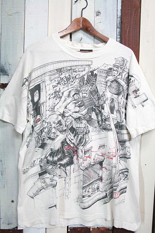 90年代 CONART コナート ヴィンテージTシャツ Tシャツ プリントTシャツ 総柄 ホワイト 白 ヒップホップ グラフィティーアート Tシャツ 古着
