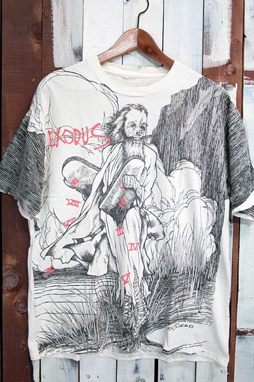 90年代 エクソダス EXODUS ヴィンテージバンドTシャツ Tシャツ プリントTシャツ 総柄 ホワイト 白 ロック メタル グラフィティーアート パスヘッド PUSHEAD Tシャツ 古着