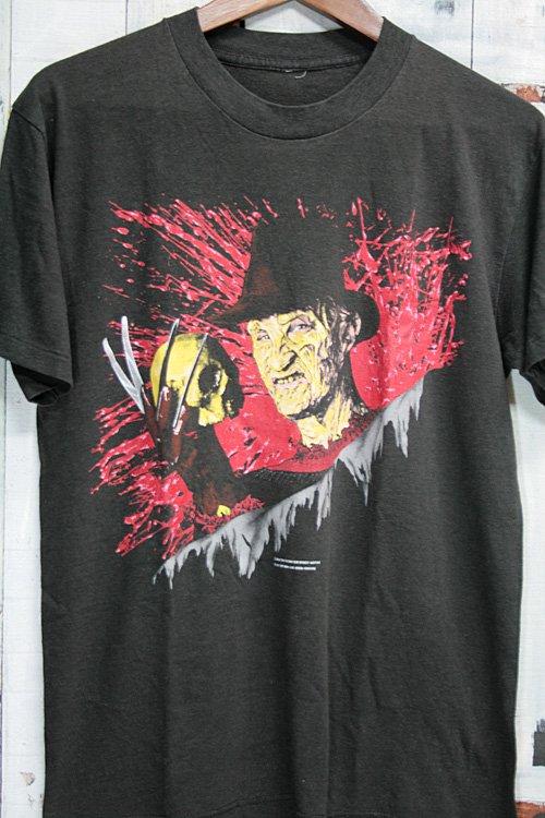 80年代 ヴィンテージTシャツ エルム街の悪夢 on elm street3 フレディ ブラック 黒 ビンテージ プリントTシャツ 古着
