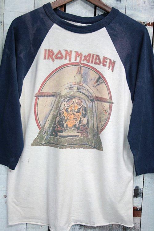 90年代 アイアンメイデン IRON MAIDEN ヴィンテージ Tシャツ バンドTシャツ ラグラン ホワイト ネイビー aces high エースハイ 古着