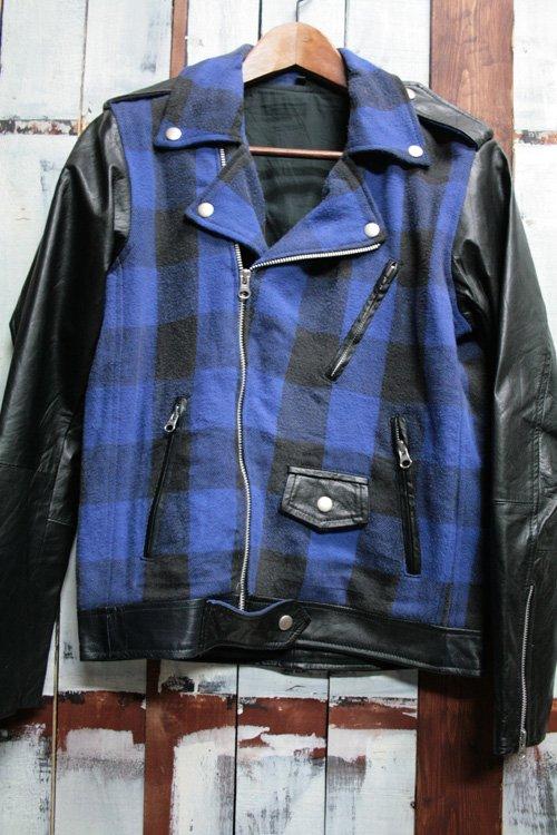 wライダースジャケット ネル リメイク ブラック ブルー