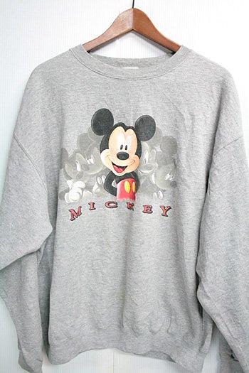古着 ミッキーマウス Mickey Mouse スウェット トレーナー グレイ ディズニー