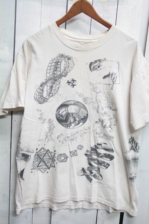 90年代 古着 ヴィンテージ Tシャツ M.C.ESCHER(マウリッツ・コルネリス・エッシャー)プリントTシャツ ANDAZIA ブラック 黒