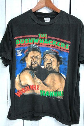 90年代 古着 wwf ザ・ブッシュワッカーズ  The Bushwhackers Tシャツ ブラック 黒 プロレス