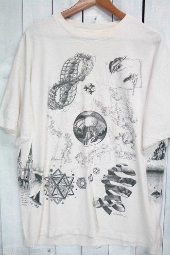 90年代 古着 ヴィンテージ Tシャツ M.C.ESCHER(マウリッツ・コルネリス・エッシャー)プリントTシャツ ホワイト 白