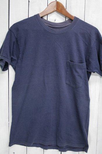 90年代 古着  Tシャツ ポケットTシャツ 無地 ネイビー 紺 耳付
