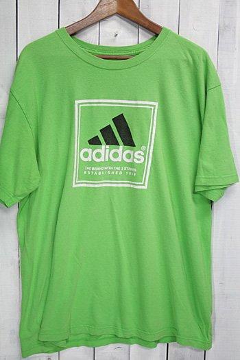 古着 adidas|アディダス Tシャツ ライムグリーン ロゴ
