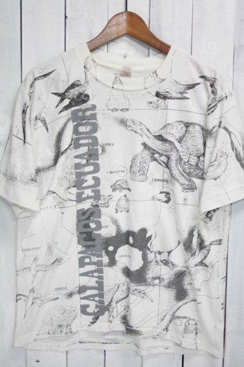 90年代 古着 ガラパゴス諸島 Tシャツ ホワイト 白 総柄
