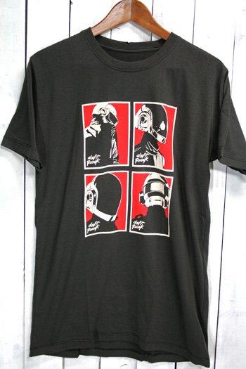 ダフトパンク Daft Punk Tシャツ ビンテージプリント バンドTシャツ ブラック