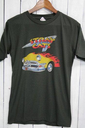 ストレイ・キャッツ Stray Cats Tシャツ ビンテージプリント バンドTシャツ ブラック