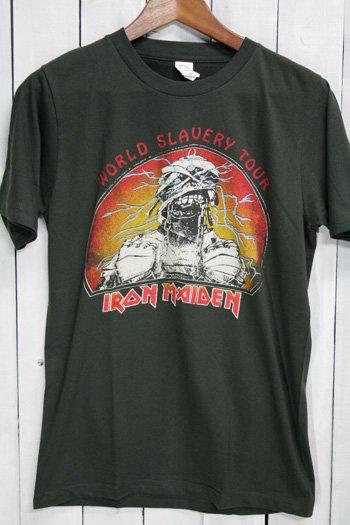 アイアン・メイデン IRON MAIDEN Tシャツ ビンテージプリント バンドTシャツ ブラック World Slavery Tour