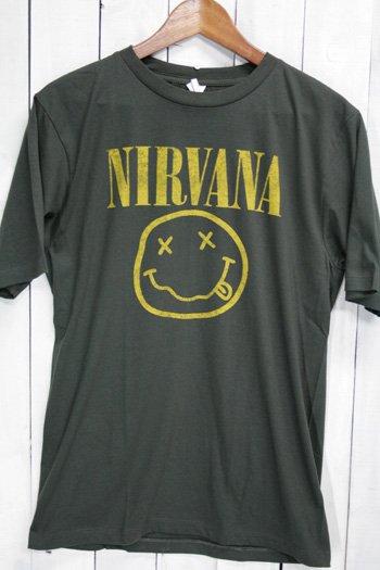 ニルヴァーナ Nirvana Tシャツ ビンテージプリント バンドTシャツ ブラック スマイルマーク
