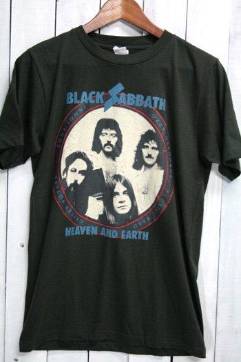 ブラック・サバス Black Sabbath heaven and earth Tシャツ ビンテージプリント バンドTシャツ ブラック