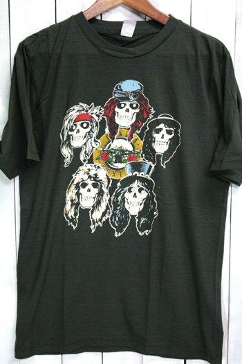 ガンズ・アンド・ローゼズ  Guns N' Roses スカル Tシャツ ビンテージプリント バンドTシャツ ブラック