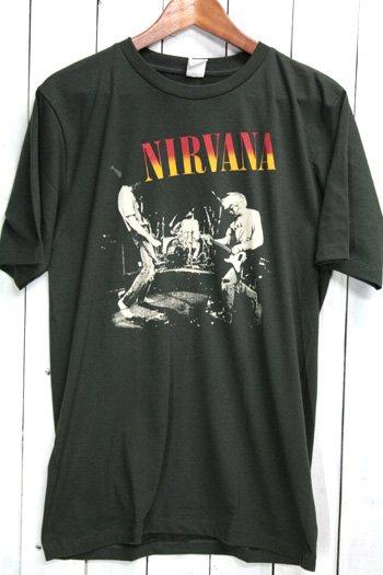 ニルヴァーナ (Nirvana)  LIVE Tシャツ ビンテージプリント バンドTシャツ ブラック