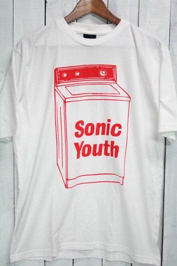 ソニック・ユース (Sonic Youth)  洗濯機 Tシャツ ビンテージプリント バンドTシャツ ホワイト L
