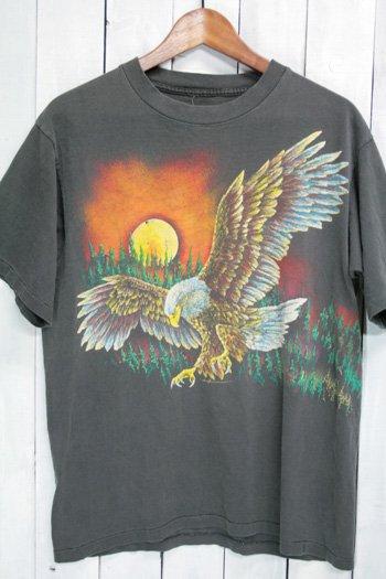 90年代 Tシャツ アニマル柄 鳥 イーグル ブラック 総柄