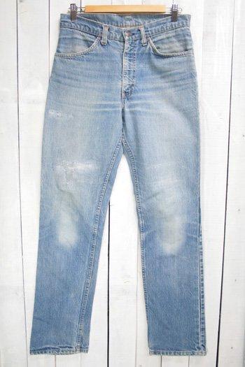 80年代 Levis リーバイズ スリムパンツ 古着 デニムパンツ オレンジタブ 色薄め ダメージ ボロ タロン42