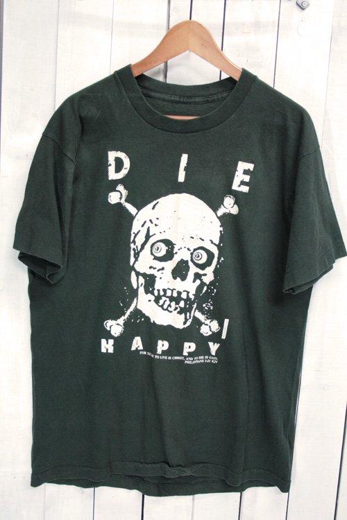 90年代 DIE HAPPY スカル スカル柄   Tシャツ ビンテージTシャツ ブラック 黒 XL BELLY ACRES