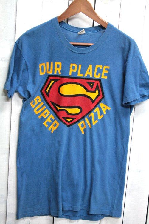 70年代 Hanes ヘインズ Tシャツ ビンテージTシャツ ブルー 青 super pizza ピザ屋さん フラッグタグ 企業物
