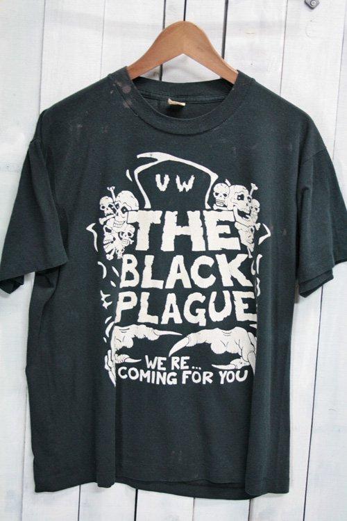 80年代 Tシャツ ビンテージTシャツ the black plague ペスト ブラック 黒 XL スカル スクリーンスターズ メッセージTシャツ