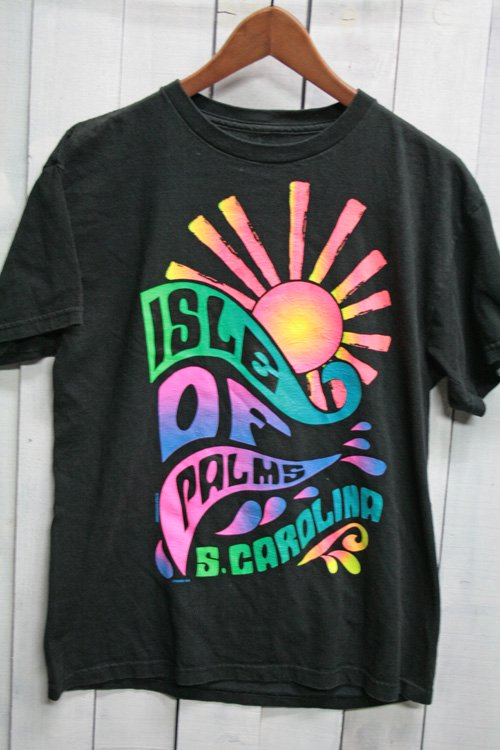 USED プリントTシャツ Tシャツ ビンテージTシャツ ブラック 黒 古着 isle of pakms s.carolina