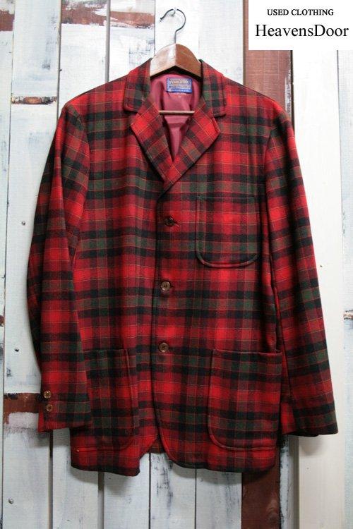 60年代頃 PENDLETON ペンデルトン・ウールチェックテーラードジャケット 古着