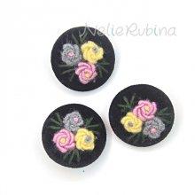 刺繍ボタン 35mm 黒&ペールカラー