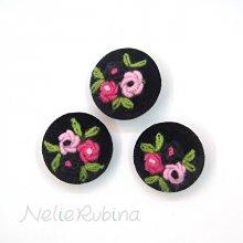 刺繍ボタン 35mm 黒&濃淡ピンク