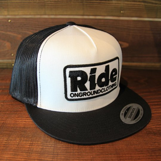 ONGROUNDCLOTHING 【Ride】Trucker Hat キャップ ブラック/ホワイト (特別カラー)<img class='new_mark_img2' src='//img.shop-pro.jp/img/new/icons58.gif' style='border:none;display:inline;margin:0px;padding:0px;width:auto;' />