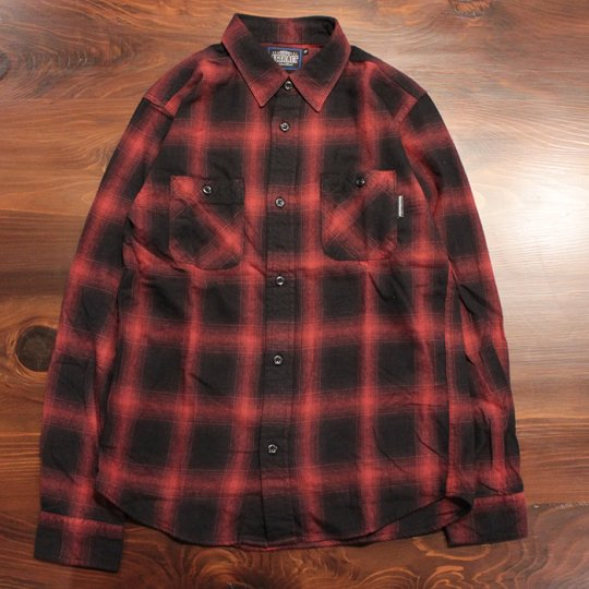 Attract Street Gear Hombre check shirt オンブレチェックシャツ レッド