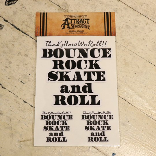 BOUNCE ROCK SKATE and ROLL ステッカーセット  White base