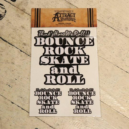 BOUNCE ROCK SKATE and ROLL ステッカーセット  Black base