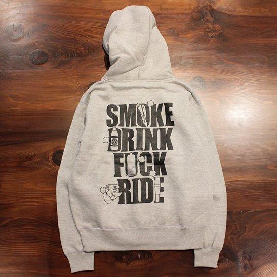【SMOKE DRINK FUCK & RIDE / スモーク ドリンク ファック & ライド】ジップフード(ヘビーウェイト)グレー / ブラック