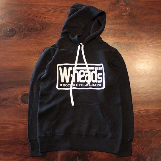 W-HEADS 「MOTOR CYCLE GEAR プルオーバー パーカ」 ブラック / ホワイト
