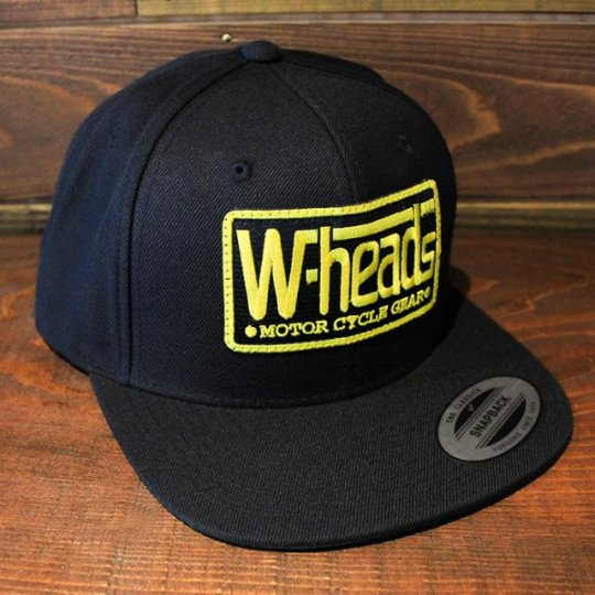 W-HEADS 「MOTOR CYCLE GEAR  Snapback 」  スナップバック キャップ ブラック (BKベース/YE)
