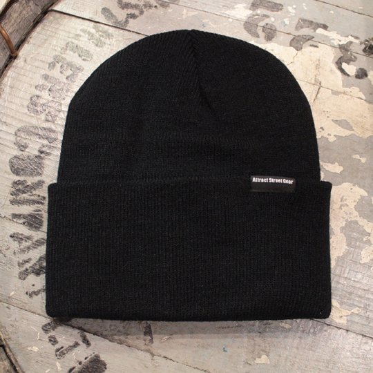 Attract Street Gear Knit Cuf Beanie ビーニー ニット帽 ブラック