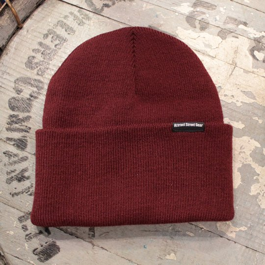 Attract Street Gear 2016A/W Knit Cuf Beanie ビーニー ニット帽 バーガンディー