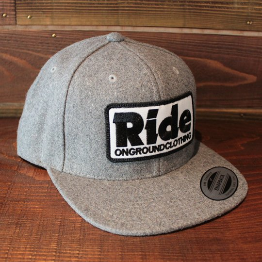 ONGROUNDCLOTHING 【Ride】 2016A/W Patch Logo Wool Snapback ライトグレー