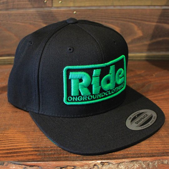 ONGROUNDCLOTHING 【Ride】3D Stitch Logo Standard Snapback ブラック/グリーン(特別カラー)