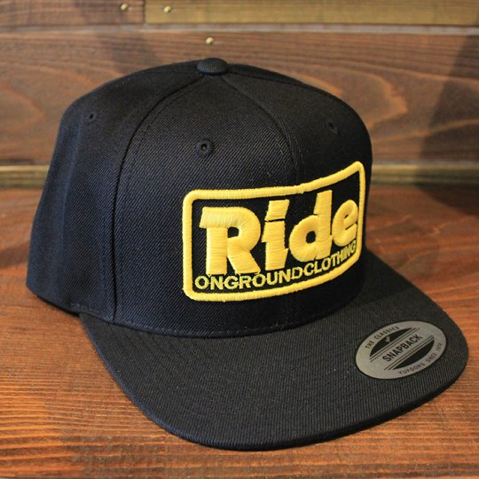 ONGROUNDCLOTHING 【Ride】3D Stitch Logo Standard Snapback ブラック/イエロー(特別カラー)