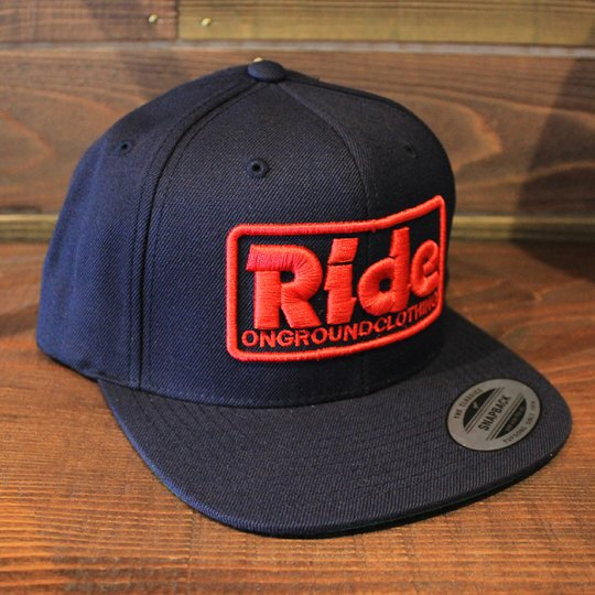 ONGROUNDCLOTHING 【Ride】3D Stitch Logo Standard Snapback ネイビー/レッド(特別カラー)