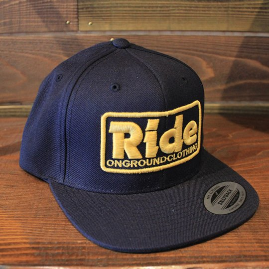 ONGROUNDCLOTHING 【Ride】3D Stitch Logo Standard Snapback ネイビー/マスタード(特別カラー)<img class='new_mark_img2' src='//img.shop-pro.jp/img/new/icons5.gif' style='border:none;display:inline;margin:0px;padding:0px;width:auto;' />