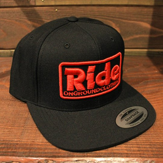 ONGROUNDCLOTHING 【Ride】3D Stitch Logo Standard Snapback ブラック/レッド(特別カラー)